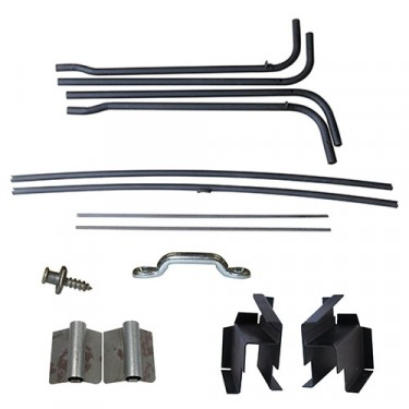 Top Bow Frame Assembly, Bracket & Hardware Kit, 46-49 Willys CJ-2A