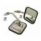 Chrome Side View Mirror Kit with Arm and Bracket, LH & RH, 55-86 CJ & Willys