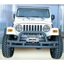 Front Tube Bumper with Winch Cutout in Text Black, 76-86 CJ