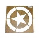"Paint Stencil w/15"" Diameter Star ""Broken"" Invasion Circle Fits 41-71 Jeep & Willys"