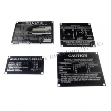 Metal Dash Data Plate Set Fits  41-45 MB