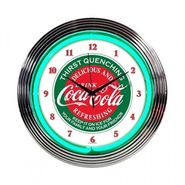 "Neon ""Coca-Cola"" Evergreen Clock Fits Willys Accessory"