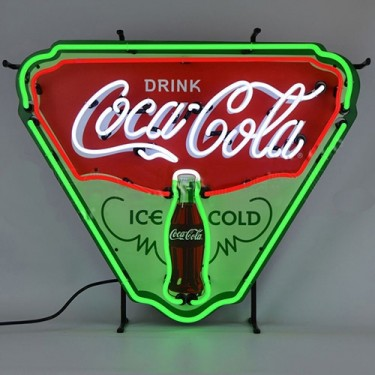 "Neon ""Ice Cold Coca-Cola"" Shield Sign Fits Willys Accessory"