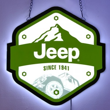 """Jeep Since 1941"" Slim LED Sign Fits Willys Accessory"