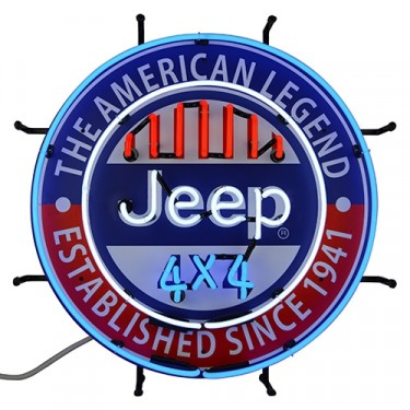 "Jeep ""The All American Legend"" Neon Wall Sign Fits Willys Accessory"