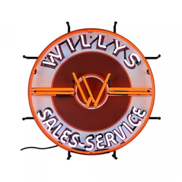 "Neon ""Willys Sales-Service"" Wall Sign Fits Willys Accessory"