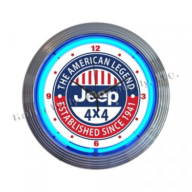 "Jeep ""The All American Legend"" Neon Wall Clock Fits Willys Accessory"