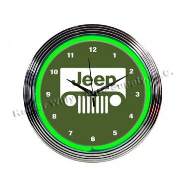 """""""Jeep"""" Green Neon Wall Clock Fits Willys Accessory"""