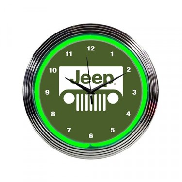 """Jeep"" Green Neon Wall Clock Fits Willys Accessory"