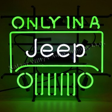"""Only In A Jeep"" Neon Wall Sign Fits Willys Accessory"