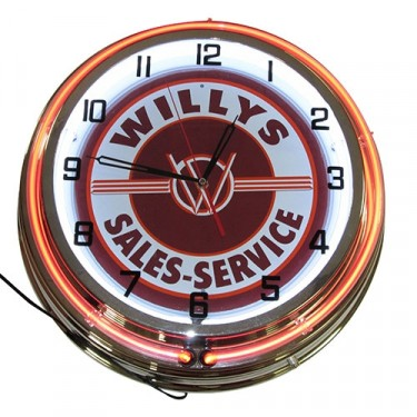 Neon Willys Overland Wall Clock Fits :  Willys Accessory
