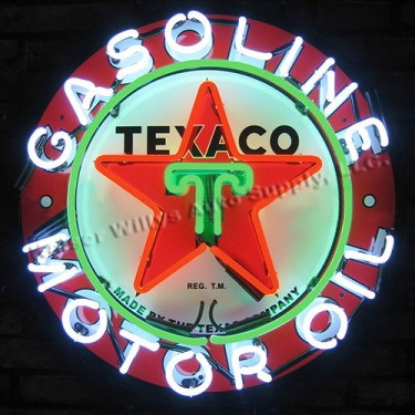 """Neon """"Texaco Motor Oil"""" Wall Sign Fits Willys Accessory"""