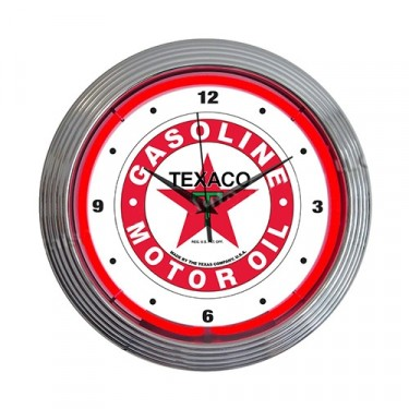 "Neon ""Texaco Gasoline Motor Oil"" Clock Fits Willys Accessory"