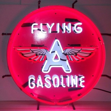 "Neon ""Flying A Gasoline"" Wall Sign Fits Willys Accessory"