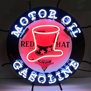 "Neon ""Red Hat Gasoline"" Wall Sign Fits Willys Accessory"