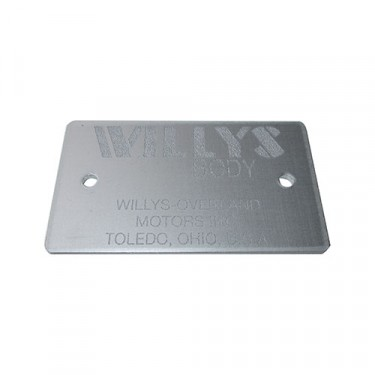 Willys Body Identification Data Plate Fits  46-71 Willys & Jeep