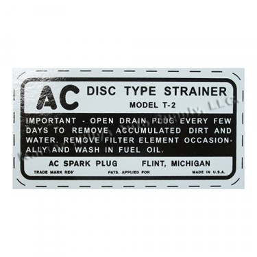 Fuel Stainer Bowl AC Decal Fits : 41-45 MB, GPW