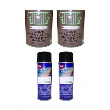Olive Drab Green Flat Body Paint Kit Fits  41-71 Jeep & Willys