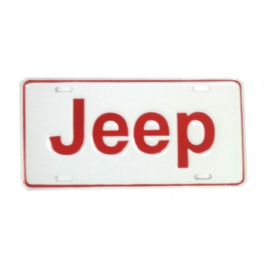Jeep License Plate in Block Script (Red) Fits  41-71 Willys and Jeep