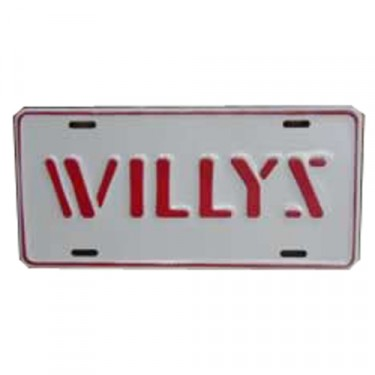 Willys License Plate in Stencil Script (Red) Fits  41-71 Willys and Jeep