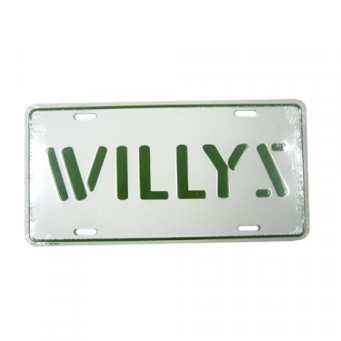 Willys License Plate in Block Script (Green) Fits  41-71 Willys and Jeep