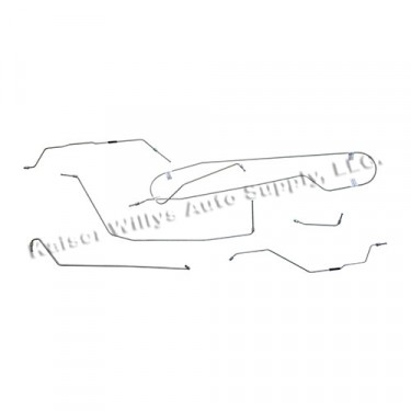 Complete Formed Steel Brake Line Kit Fits  53-64 CJ-3B, 5 with flexible hoses to front wheel cylinders