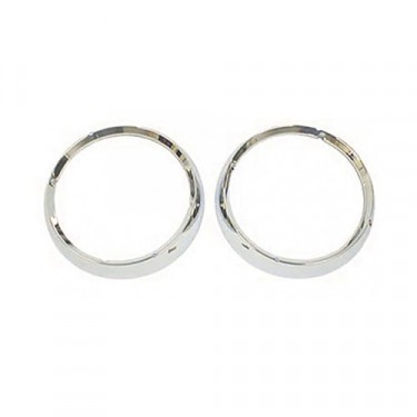 Headlight Bezels in Chrome (pair) Fits 67-86 CJ, Jeepster Commando