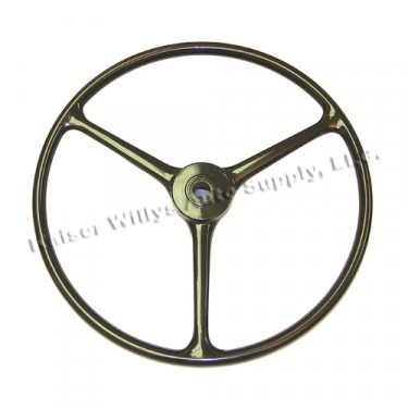 "Black Steering Wheel (for 1-1/4"" horn button)  Fits  46-64 CJ-2A, 3A, 3B, 5, M38, M38A1"