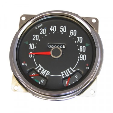 Compete Speedometer Cluster with Gauges 0-90 MPH  Fits  56-64 Truck, Station Wagon