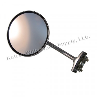 """Chrome Clamp on Door Mirror Kit with 5"""" Round Mirror  Fits  46-64 Willys Truck, Station Wagon"""