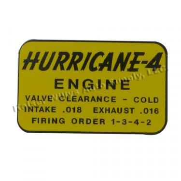 """Decal Set for Top of Engine Rocker Arm Cover """"Hurricane 4""""  Fits  50-72 Willys Jeeps"""