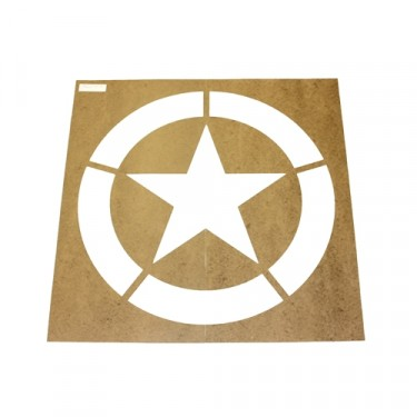 "Paint Stencil w/20"" Diameter Star ""Broken"" Invasion Circle  Fits  41-71 Jeep & Willys"