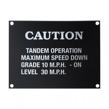 Dashboard Caution Data Plate (Aluminum) Fits  41-71 MB, GPW, CJ-2A, 3A, 3B, 5, M38, M38A1