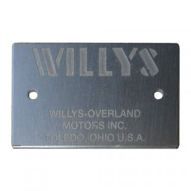 """Willys"" Frame Data Plate (rectangular style) Fits  41-71 MB, CJ-3A, 3B, 5, 6"