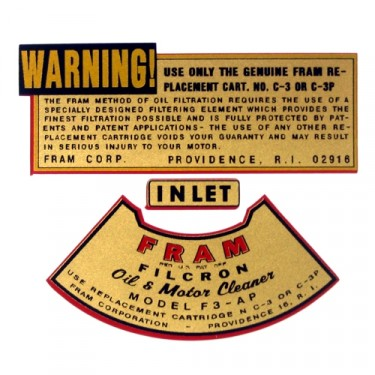Decal Set for Small Fram Oil Canister  Fits  46-72 Willys Civilian Jeeps