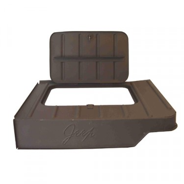 "Replacement Steel Tool Compartment with Lid (Stamped ""Jeep"")  Fits  46-71 CJ-2A, 3A, 3B, 5, M38, M38A1"