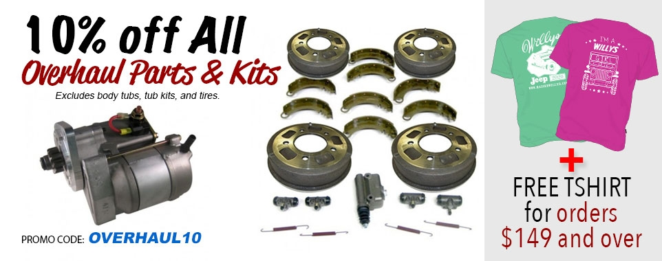 Save 10% Off Overhaul Kits and FREE Shirt for Orders $149+