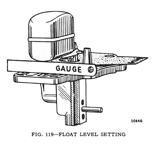 Fig. 119 - Float Level Setting