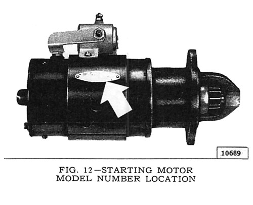Starting Motor Number Location