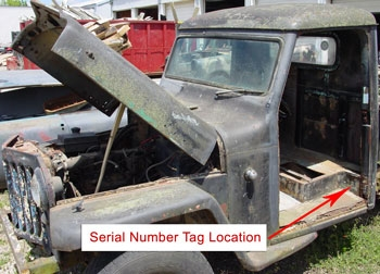 Willys Truck Serial Number Location